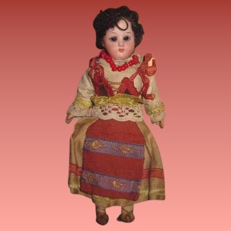 "CHARMING All Original 6 3/4"" Antique German Bisque Head European Ethnic Girl Doll!"