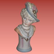FANCY Antique German Miniature Porcelain Pedestal Bust for DOLL DISPLAY!