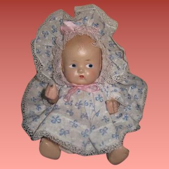 "ADORABLE Factory Original Vintage 8"" Composition Baby Doll!"