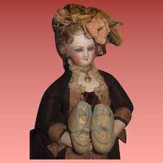 CHARMING Hard to Find Pair of Antique Fashion Doll Slippers/Moccasins!