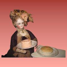 SWEET SET of Miniature Antique German Hand Painted Composition/Plaster Desserts on Porcelain Plates!