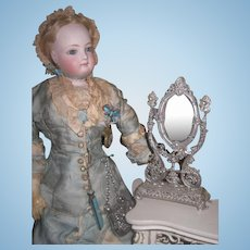 EXQUISITE Rare Antique Miniature Silver Filigree Fashion Doll Vanity Mirror!