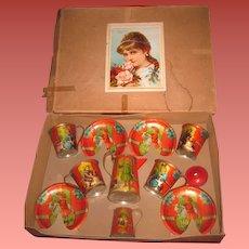 MAGNIFICENT Rare Antique Miniature Toy Lithograph Tin Teaset in ORIGINAL BOX!