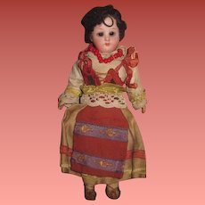 "INVENTORY SALE! Charming All Original 6 3/4"" Antique German Bisque Head European Ethnic Girl Doll!"