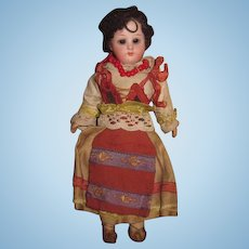 "INVENTORY SALE! Charming All Original 6 3/4"" Antique German Bisque Head European Ethnic Girl Doll!"