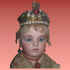 """INVENTORY SALE!  Rare  Antique French Miniature """"Jeweled"""" Ormolu Santos Crown for FASHION DOLLS!"""