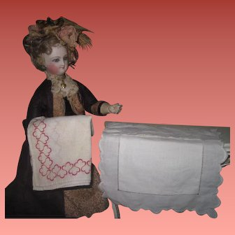 FABULOUS Set of Antique French Fashion Doll Miniature Cotton Bed Linens!