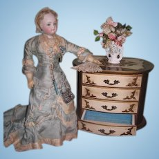 EXQUISITE Vintage Miniature Hand Painted Florentine Oval Chest for FASHION DOLLS!