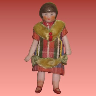 """SWEET Tiny All Original 3"""" Antique German Jointed All Bisque Doll!"""