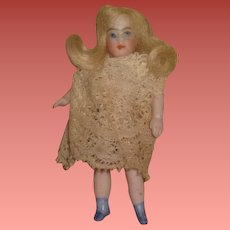 """SWEET Tiny 2 1/2"""" Antique German Antique Strung Swivel Neck All Bisque Girl Doll!"""