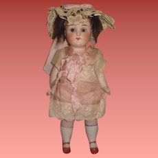 """ADORABLE Large Size 7"""" All Original Antique German All Bisque Girl Doll with Brown SLEEP EYES!"""