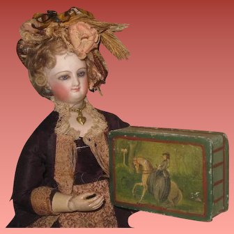 MAGNIFICENT Rare Antique French Hand Painted Miniature Snuff Box with Equestrian Theme!
