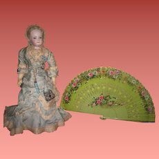 EXQUISITE Hand Painted Apple Green Floral Lacquered Hand Fan for DOLL DISPLAY!