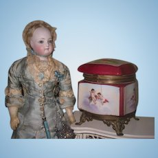 MAGNIFICENT Antique French Hand Painted Miniature Porcelain Box with WINGED CHERUBS!