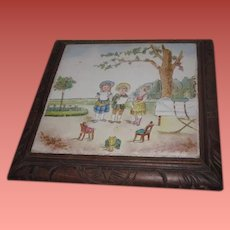 ENCHANTING Antique Hand Painted Victorian Tile/Trivet with DOLL & CHILD Scene!