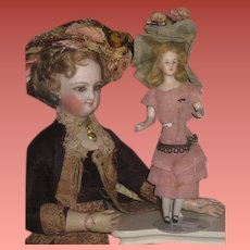 "Inventory Reduction! Rare A/O 5 1/2"" Antique German Lady Dollhouse Doll W/Bent Arms & MOLDED BREASTS!"