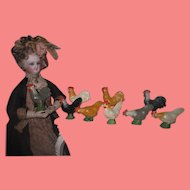 CHARMING Vintage German 9 Piece Old Store Stock Miniature Painted Chalkware Rooster & Chicken Set!