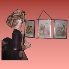 CHARMING Antique German Miniature Doll Folding Mirror with Children/Animal Lithographs!