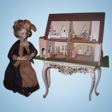 MAGNIFICENT Vintage Hand Made 1:24 Scale Fully Appointed Pink Tudor Style Dollhouse!