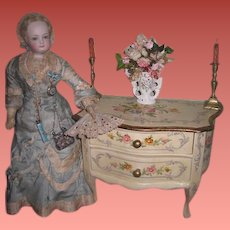 MAGNIFICENT Vintage Miniature Fancy Hand Painted Floral Bombay Chest for FASHION DOLLS!