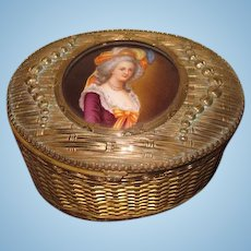 MAGNIFICENT Large Antique French Hand Painted Porcelain Oval Portait Box~Perfect for DOLL DISPLAY!