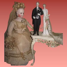 """FANTASTIC Rare Large Size 6 1/2"""" Antique Hertwig All Bisque Bride and Groom Figurines!"""