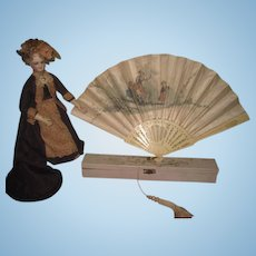 SALE! MAGNIFICENT Antique Victorian Hand Painted Silk & Bone Fan with Original Box for DOLL DISPLAY!