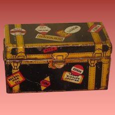 NOVELTY Vintage Miniature Marx Toy Company Lithograph Tin Toy Travel Trunk!