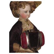 SUPERB All Original Antique Velvet Valise Style Doll Purse in RARE Smaller Size!
