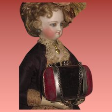 SUPERB All Original Antique Velvet Valise Style Doll Purse in RARE Smaller Size!