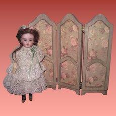 GORGEOUS Vintage Miniature Wooden Floral Folding Screen for Antique Dolls!