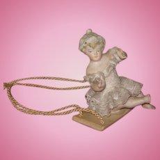 "CHARMING Rare Antique German All Bisque ""Swinger"" Figurine!"