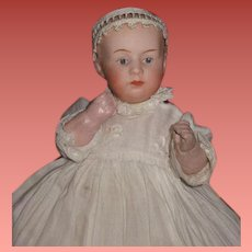 """TEENY TINY 6"""" Antique German Heubach Baby Doll in Original Christening Outfit!"""