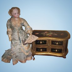 EXQUISITE Vintage Miniature Hand Painted Florentine Chest for FASHION DOLLS!
