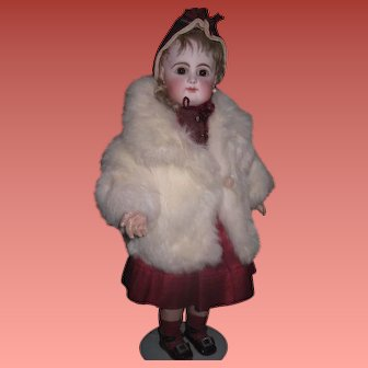 FABULOUS Vintage Authentic White Rabbit Fur Doll Coat with PINK LINING!