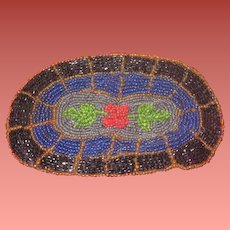 EXQUISITE Antique Miniature Oval Hand Beaded Dollhouse Area Rug!