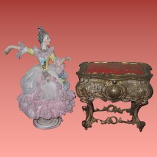 MAGNFICIENT Rare Antique French Miniature Enameled Table Vitrine Box for your MIGNONETTE DOLL!