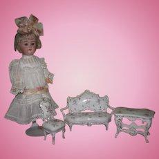 EXQUISITE 3 Piece Antique Miniature Hand Painted Porcelain Furniture Salon Set for MIGNONETTE DOLL!