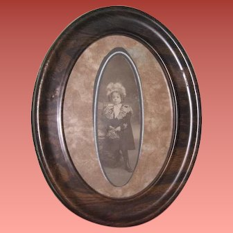 CHARMING Antique Oval Framed Cabinet Photo of Little Girl in Fancy Winter Outfit!