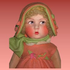 "MAGNIFICENT 21"" Factory Original Vintage French Poir Cloth Doll~A BEAUTY!"