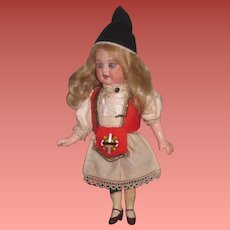 "CHARMING All Original 5 1/2"" Antique German Bisque Head Ethnic Girl Doll!"