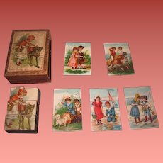 TINY and COMPLETE All Original Antique German Lithographed Wooden Block Set with CHILD MOTIF!