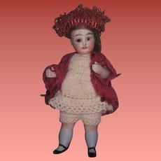 """DARLING 5"""" Antique German GLASS EYED All Bisque Girl Doll!"""