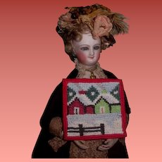 CHARMING Vintage Miniature Needlepoint Tapestry/Rug for Doll's Holiday Scene!