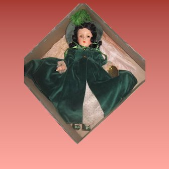 "MAGNIFICENT Rare Mint-In-Box Factory Original Madame Alexander 14"" Composition Scarlett O'Hara Doll!"