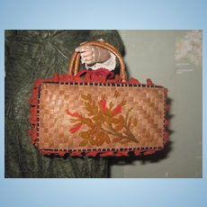 EXQUISITE Antique Embroidered Wicker Miniature Suitcase/Valise for FASHION DOLLS!