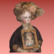 CHARMING Antique Miniature Framed Portrait Die Cut of Lovely Young Girl!