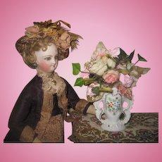 EXQUISITE Antique Miniature Paris Porcelain Vase with Floral Bouquet!