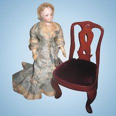 CHARMING Well Made Vintage Miniature Queen Anne Style Doll Chair!