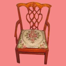 NOVELTY Vintage Carved Miniature Chippendale Style Doll Armchair with INTERCHANGEABLE SEATS!